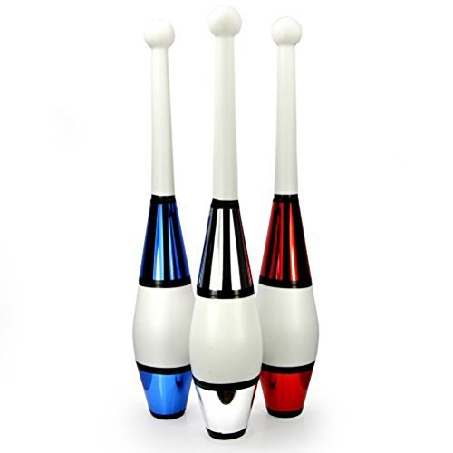 Juggling Clubs Set of 3 - One-piece Euro Style with Decorative Metallic ()