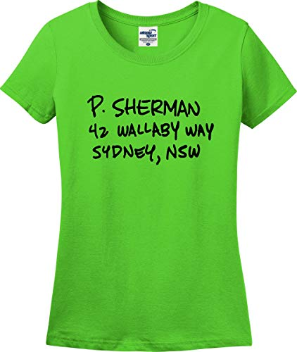 Utopia Sport P. Sherman 42 Wallaby Way Sydney Ladies T-Shirt (S-3X) (Ladies Small, Lime Green) (P Sherman 42 Wallaby Way Sydney Australia)