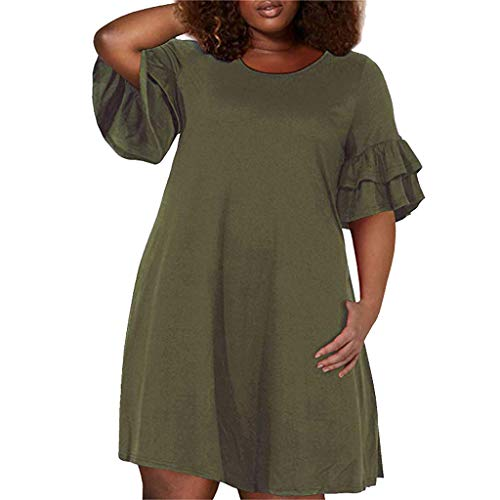REDMAKER Women's Ruffle Oversize Casual Midi Dresses with Pockets Green