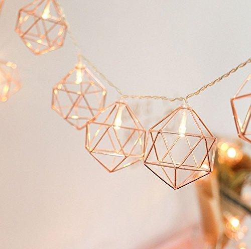 Vintage Lampenkap Geometrische Lichten,KINGCOO 3.3M/10ft 20LED Roségouden Metalen Lantaarn Veelhoek Batterij-aangedreven…