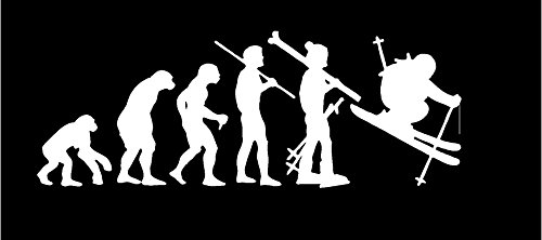 (Evolution Skier Sticker Decal in White)