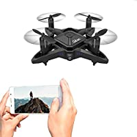 UniDargon T911W VGA Wifi Transmission Foldable RC Drone for Kids with Altitude Hold Mode,Four-Axis One Key Take Off Landing and Headless Mode Easy Fly Steady for Beginners (Black)