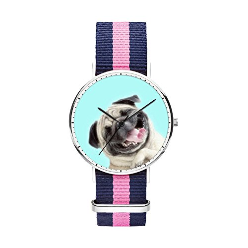 FELOOWSE Girls Watches, Women Watches, Sliver Slim Minimalist Imported Japanese Quartz PracticalWaterproof Unique Personalized Youth Fashion Design Cute Watches for Women.- Pug by FELOOWSE