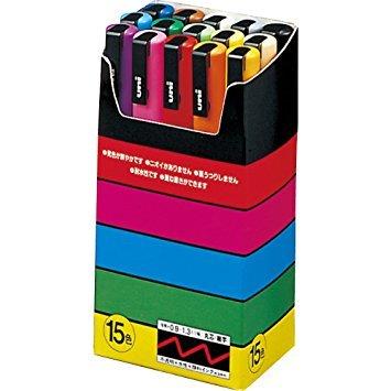 3Pacs X Uni Posca Paint Marker Pen - Fine Point - 15 Colors - PC-3M15C by uni