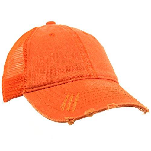 - Unisex Distressed Low Profile Trucker Mesh Summer Baseball Sun Cap Hat Orange