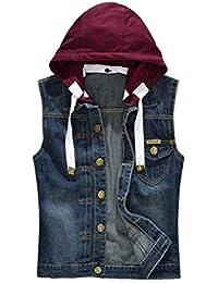 3e26c5edc98 Men s Hoodie Denim Vest Casual Slim Fit Button Down Sleeveless Jeans Vests  Jacket