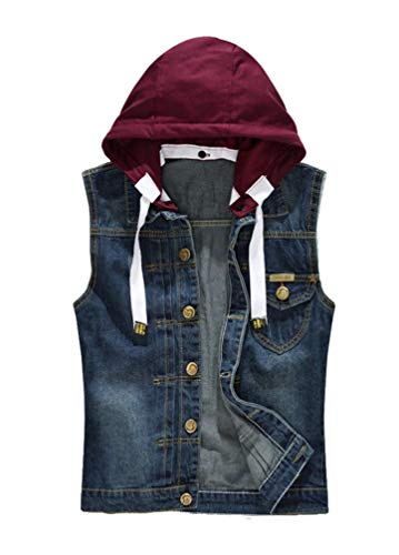 Lavnis Men's Hoodie Denim Vest Casual Slim Fit Button Down Sleeveless Jeans Vests Jacket Style 2 S