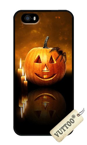 iPhone 5 Case,iPhone 5S Case,VUTTOO iPhone 5 Cover With Photo: Happy Halloween Pumpkin For Apple iPhone 5/5S - PC Black Hard Case -