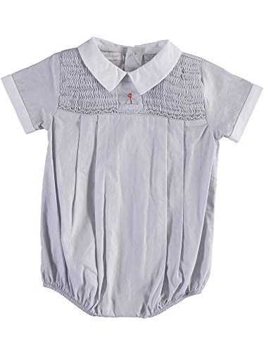 - Baby Boy Short Romper Light Grey with Hand Smocking and Embroidered Sailboat