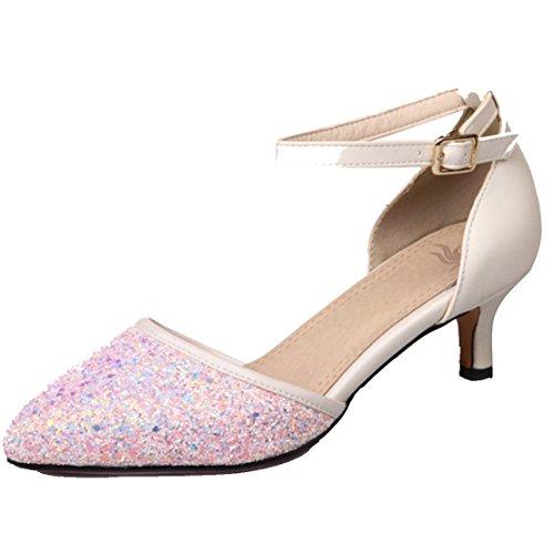 AIYOUMEI Damen Spitz Glitzer Kleinem Absatz Pumps mit 3.5cm Absatz Kitten Heel Modern Pailletten Schuhe Rosa