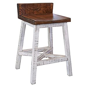 Burleson Home Furnishings Anton Farmhouse Solid Wood Distressed White 24 inch Breakfast Bar Stool