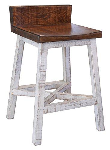 BurlesonHomeFurnishings Anton Farmhouse Solid Wood Distressed White 24 inch Breakfast Bar Stool