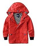 Hiheart Boys Waterproof Hooded Jackets Cotton Lined Rain Jackets Red 3T