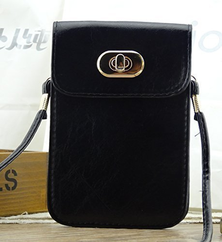 Big Mango PU Leather Bag Crossbody Purse with Long Shoulder Strap & Safe Lock Button for Apple Iphone 6,4 4s,5 5s,5c, Samsung Galaxy Series,Note 2 Note 3,HTC - Black (Iphone Purse Crossbody)