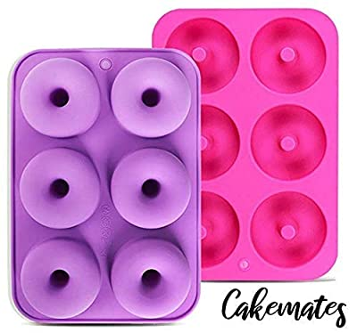 Cakemates - Silicone Donut Mold for baking - Premium Quality - Donut Pan - Bake Perfect Shaped HEALTHY Donuts - 2 pack