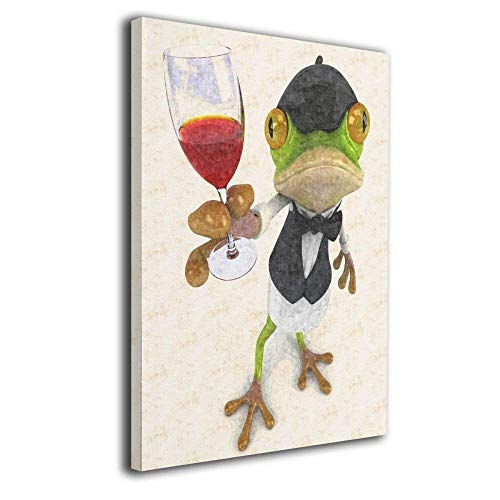 Ale-art Wall Art Abstract Animals Cheers Funny Frog With Wine Painting Picture Printed on Canvas Home Decor Decoration Living Room Bedroom Wall Decor