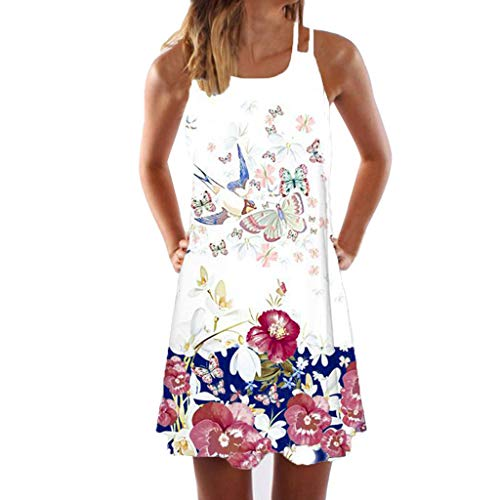 Sunhusing Womens Sling Off-Shoulder Flower Print Tank Top Dress Sleeveless Mini A-Line Beach Sundress White ()