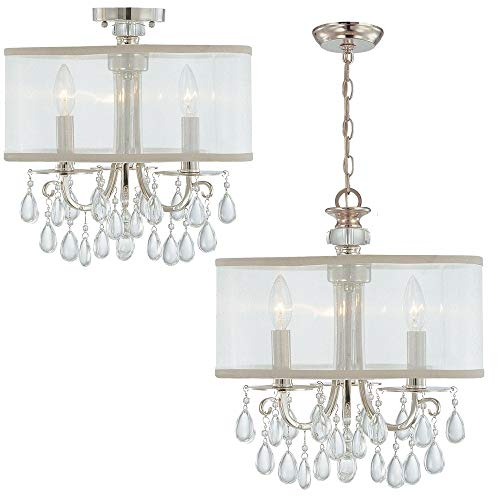 (Crystorama 5623-CH Crystal Accents Three Light Mini Chandeliers from Hampton collection in Chrome, Pol. Nckl.finish, )