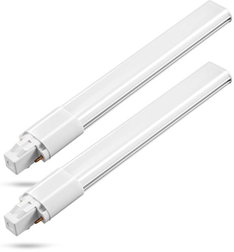 BAILIDA 8W GX23 2-Pin LED PL Horizontal Recessed Light Bulb, 18W CFL Equivalent Warm White 3000K, 720LM PL Retrofit Lamp 2-Pack - Wall 18w Cfl