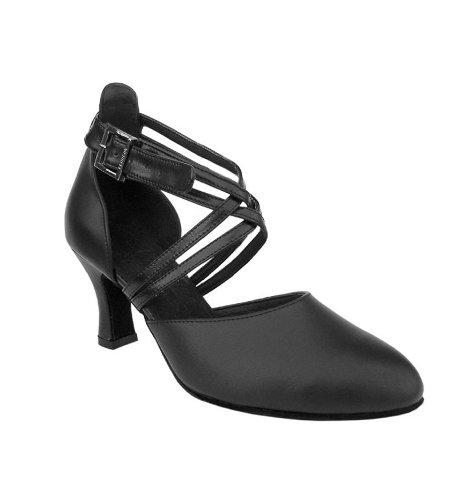 Damer Kvinner Ballroom Dans Sko For Latin Salsa Tango Signatur S9110 Sort Skinn 2,5