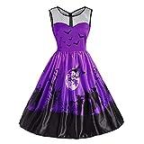 Ulanda 2018 New Women Sleeveless Vintage Pumpkins Halloween Evening Prom Costume Swing Dress (S, Purple #02)