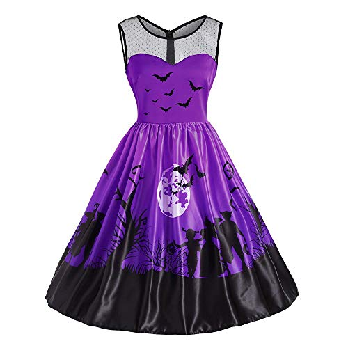 Halloween Party Swing Dress, Women's Vintage O-Neck Print Sleeveless A-Line Dress ANJUNIE(Purple,2XL) -