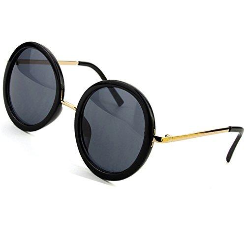 Sumery Retro Round Frame UV400 Fashion Luxury Sunglasses Unisex 4 Colors (Black,