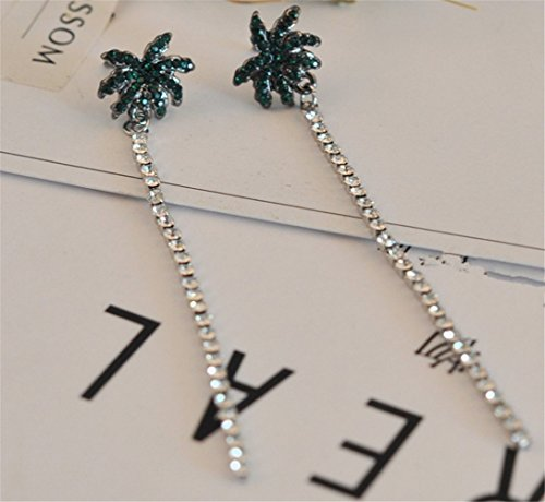 P.phoebus 18K White Gold Plated Earrings Green Tree Vintage Swarovski Crystal Studs Rhinestones Dangle Charms Hoops for Women Girls (1)