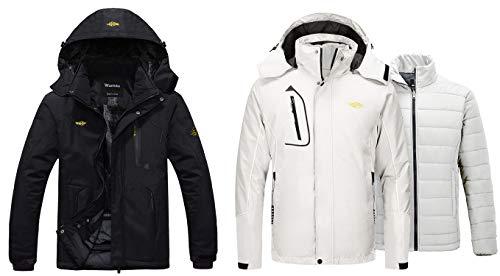 Wantdo Men's Waterproof FleeceJacket Windproof Ski Jacket Black L+Wantdo Men's Warm 3 in 1 Ski Jacket Waterproof Winter Snow Coat Off White L
