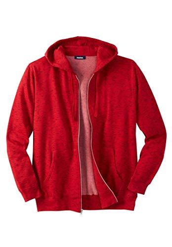KingSize Men's Big & Tall Fleece Zip-Front Hoodie, Heather Red Big-9Xl -