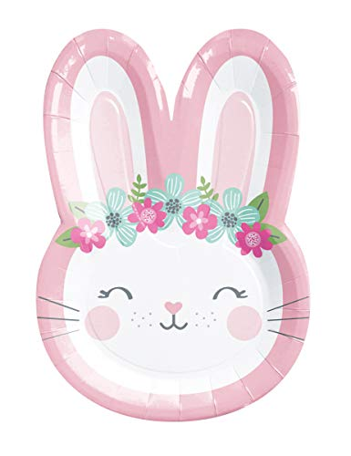 "Creative Converting Party Supplies, Bunny Party Shaped Paper Plates, Plate Dinner, Multicolor, 9"", 8Ct"