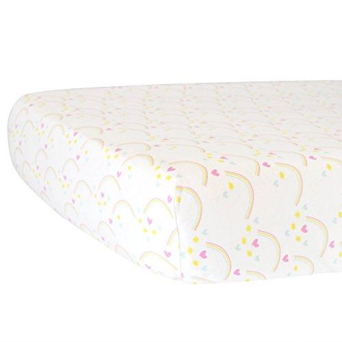 Hello Spud - Rainbows Fitted Crib Sheet Organic Cotton Jersey - Super Soft (Rainbow Jersey Cotton)