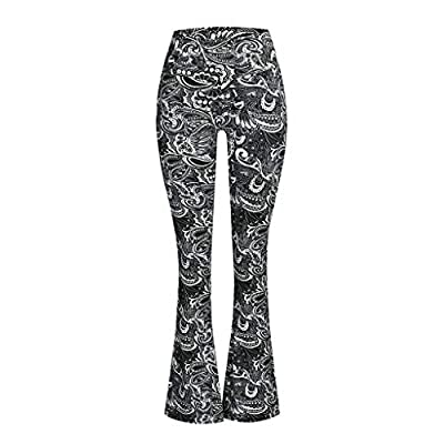 Vickyleb Yoga Pants for Women,Women's Comfy Casual Pajama Pants Floral Print Drawstring Palazzo Lounge Pants Wide Leg: Clothing