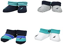 Nautica Baby Boys\' 4 Pack Assorted Booties, Blue Multi, 0-6 Months