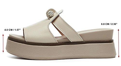 épais Pantoufles Cuir de Mules Yooeen Fond Été Sandales Ouvert Femme Sandales beige Plate Forme Mode Diamants Compensés Bout 2 q7zq4