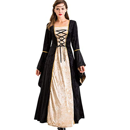 Dress Up 77 Net (Botrong Women's Retro Dress Cosplay Halloween Clothes Dress up Festival Long Skirts)
