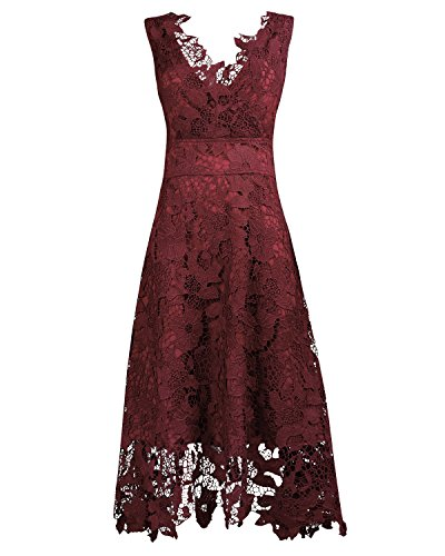 KIMILILY Women's Floral Lace V Neck Formal Swing Cocktail Evening Party Dress(Q,L) - Lace Overlay Dress