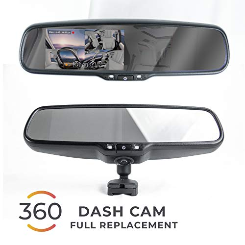 Master Tailgaters OEM Rear View Mirror with Ultra Bright 4.5″ Auto Adjusting Brightness LCD + HD 1080p DVR 360° Recorder – Universal Fit