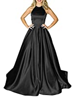 Prom Dresses Long Halter Satin Beaded Backless Formal Evening Gown with Pockets