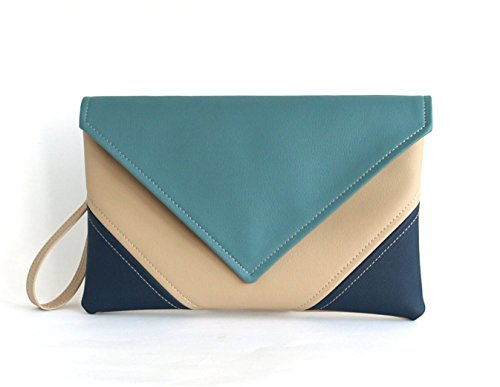 Clutch Bag envelope Hanmade Blue Navy Beige Purse Vegan Eco Faux leather Handbag Strap Evening Bag wedding bridesmaid by LudaMelnick