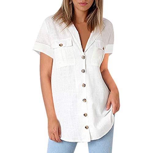 Summer Tops for Women 2019 Tronet Casual Linen Shirts for Women Button Shirts Pocket Short Sleeve Tunics Loose Tops