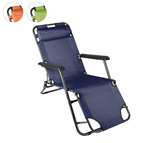 klappbare Sonnenliege Relaxliege Liegestuhl Klappliege Stahl (Blau)