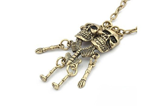 [Retro Fashion Punk Conjoined Twins Skulls Two Human Skeleton Necklace Halloween Jewelry Accessories] (Twin Halloween Costumes For Sale)