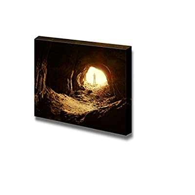 Canvas Prints Wall Art - Man Standing in Front of a Cave Entrance Concept of Exploration | Modern Wall Decor/Home Decoration Stretched Gallery Canvas Wrap Giclee Print & Ready to Hang - 12