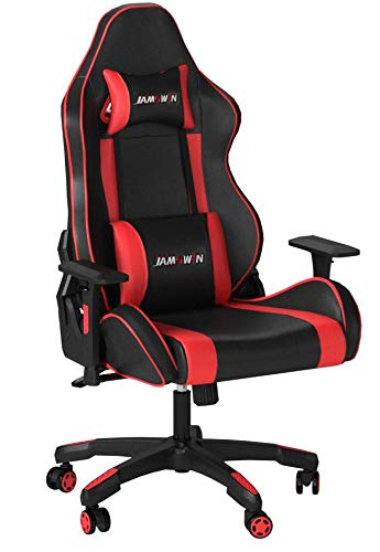 Jamswin Gaming Chair Ergonomic Large Size High Back Adjustable PU Leather Video Game Chairs Office Chair Red HuanJun