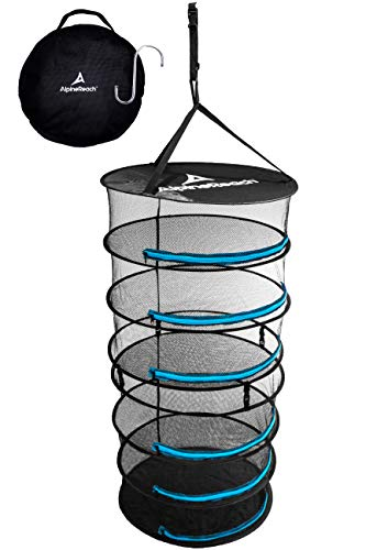 AlpineReach Herb Drying Rack - 6 Layer 2ft Mesh Net - Heavy Duty Hanging Adjustable Straps & Hook - Detachable into 3 Layers - Dry Plants & Hydroponics Collapsible Tent Dehydrator Black & Blue Zippers