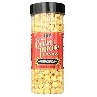 Utz Gourmet Popcorn Clusters, Caramel Nut Clusters – 19 oz. Barrel – Crunchy Popcorn Snack Mix with Almonds, Cashews, and Buttery Toffee, Trans Fat Free, Cholesterol Free, Gluten Free Snacks