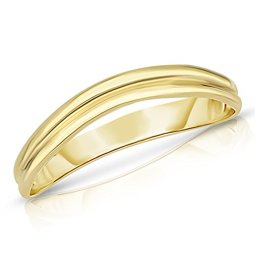 Comfort Fit Curved Double Wave Thumb Ring (3mm) – 10k Yellow Gold - Size (3mm Thumb Ring)