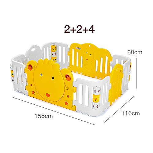 (ZR- Bed guardrails, Baby Plastic Playpen Security Fence Family Park with Fun Corner Roller Bed Guard Toddler Safety (Color : Gray+Yellow, Size : 158200cm))
