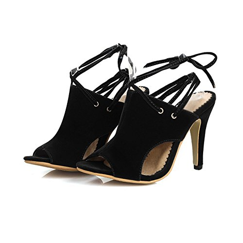 Mujeres Sandalias Exterior Tacón Zapatos Mujer Comercio Las Pie Boca Tamaño Pescado De Black Anillo Correa Alto Gran 1rEpq18w